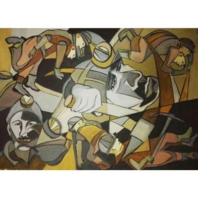 نقاشی با موضوع کارگران معدن